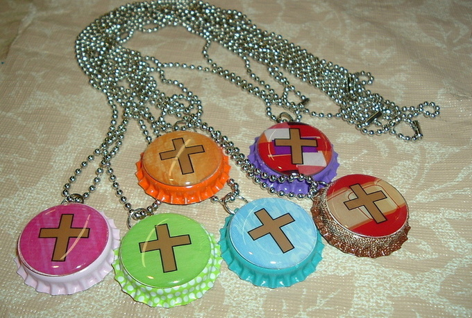send you 1 cool Anime Cartoon Caricature Cosplay or Christian Cross or Breast Cancer Awareness Bottle Cap Necklace great for Christmas gift