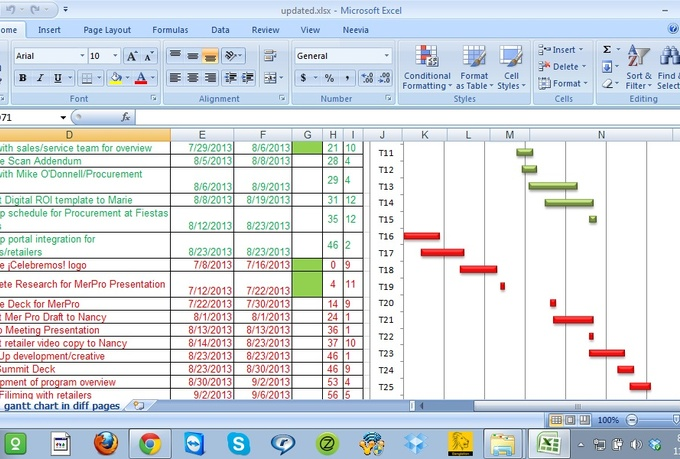create a gantt chart using Ms Excel, Google spreadsheet or Ms Project ...