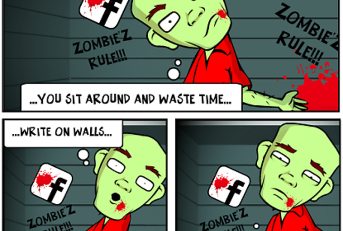 create up to a 4 panel ZOMBIE comic strip within 24 hrs
