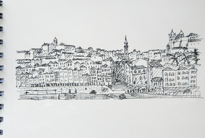 draw any city or landscape with watercolor and black liner