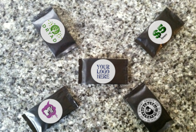 mail you 5 packages of Belgian Chocolate with your Logo
