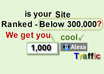 add 1000  to your Alexa Rank if below 300000