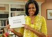 place your message, birthday greetings, website on Michelle Obamas hand, like she is talking about it