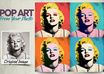 create a PopArt image in the likes of Andy Warhols Marilyn Monroe, tiled 4x