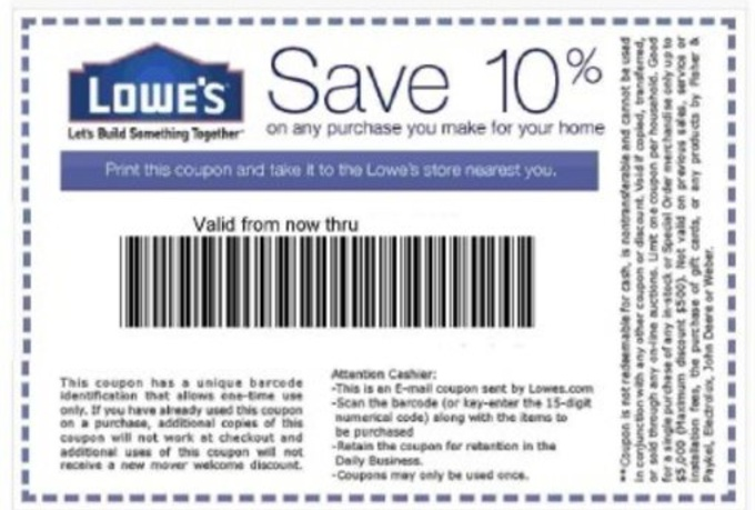 Sep 30,  · Lowes 10% Off Coupon Lowes 10% Off Coupon is among the best Lowes Coupons in the market. If you are buying more then $, then lowes 10% Off promo code is the best option for you. By using lowes 10% off promo code you can get maximum discount of $ We believe this amount of money has a big effect on a middle class american.