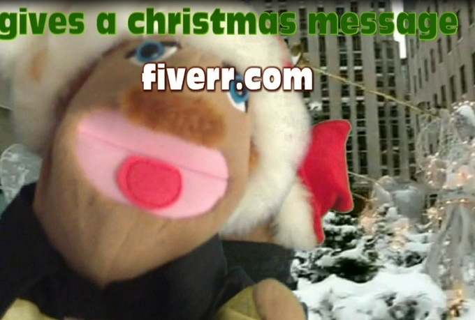 make a Christmas card whit puppet