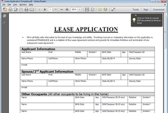 will give you a blank Home Rental Client Application for $5