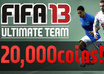 give you 20000 FIFA13 ultimate team coins on xbox,ps3,pc FIFA 13 fut