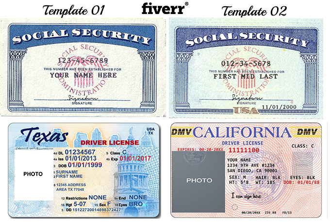 Drivers license template download for California id template download